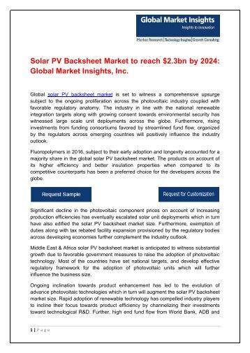 Global Solar PV Backsheet Market to surpass 7 bn square foot by 2024