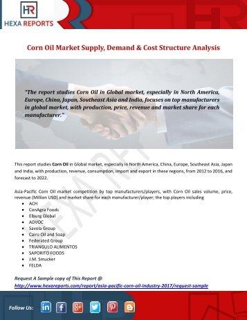 Corn Oil Market Supply, Demand & Cost Structure Analysis