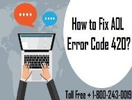 How To Fix AOL Error Code 420? 1-800-243-0019 For Help