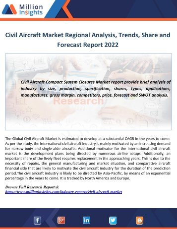 Civil Aircraft Market Regional Analysis, Trends, Share and Forecast Report 2022