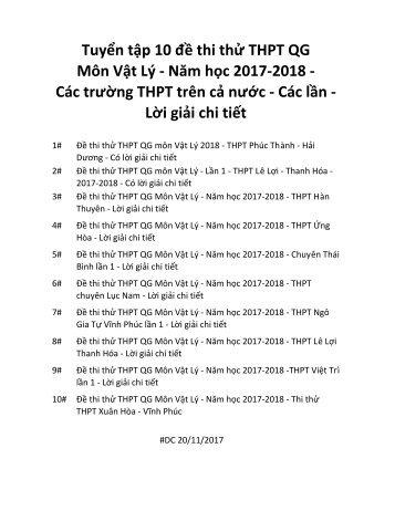 Tuyển tập 10 đề thi thử THPT QG Môn Vật Lý - Năm học 2017-2018 - Các trường THPT trên cả nước - Các lần - Lời giải chi tiết (DC20112017)