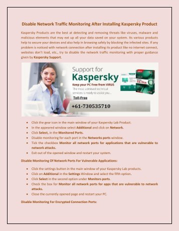 Disable Network Traffic monitoring after installing Kaspersky Product