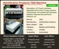 Buy Used Identification Products 7020 Machine
