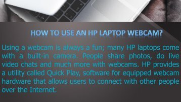 How to Use the HP Laptop Webcam