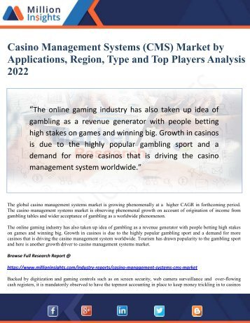 Casino Management Systems (CMS) Market by Applications, Region, Type and Top Players Analysis 2022