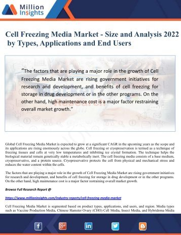 Cell Freezing Media Market - Size and Analysis 2022 by Types, Applications and End Users