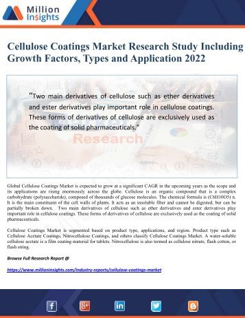 Cellulose Coatings Market Research Study including Growth Factors, Types and Application 2022