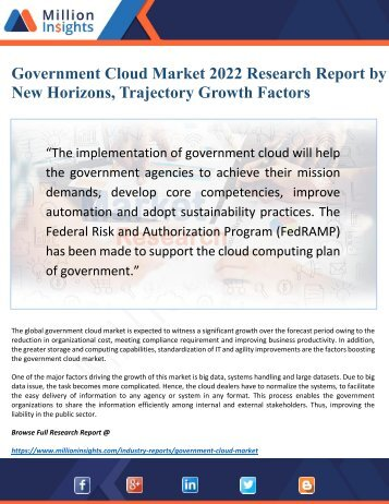 Government Cloud Market 2022 Driven by Key Players and Regions Forecast