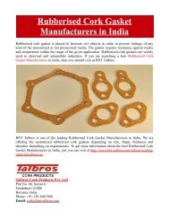 Rubberised Cork Gasket Manufacturers in India
