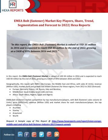 EMEA Bolt (fastener) Market Key Players, Share, Trend, Segmentation and Forecast to 2022 Hexa Reports