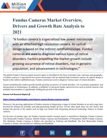 Fundus Cameras Market Overview, Drivers and Growth Rate Analysis to 2021