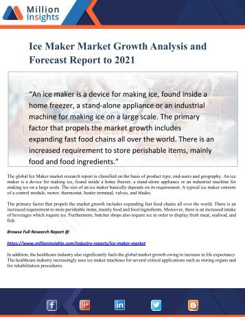 Ice Maker Market Growth Analysis and Forecast Report to 2021