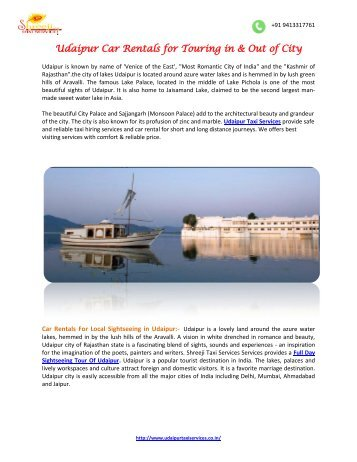 Udaipur Car Rentals for Touring -pdf