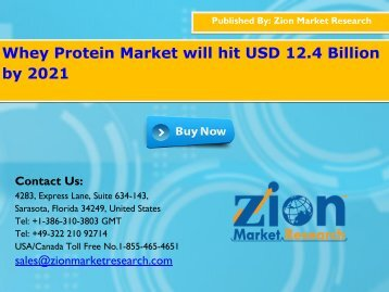 Global Whey Protein Market Would Reach USD 12.4 Billion By 2021