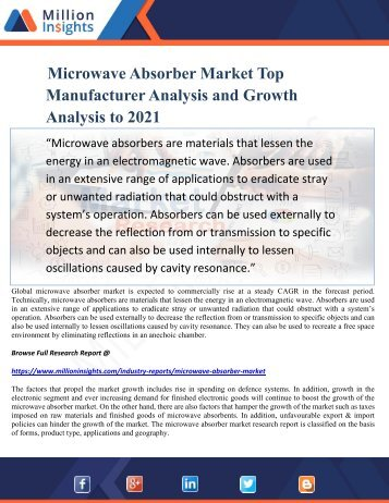 Microwave Absorber Market Top Manufacturer Analysis and Growth Analysis to 2021