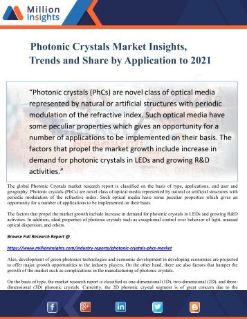 Photonic Crystals Market Insights, Trends and Share by Application to 2021