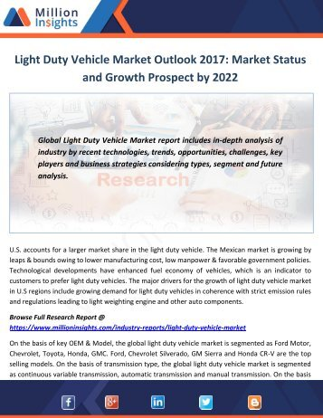 Light Duty Vehicle Market Outlook 2017-2022