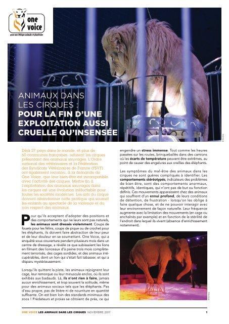 Animaux dans les cirques - Pour la fin d'une exploitation aussi cruelle qu'insensée