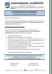 Postwurf November 2017 / Marktgemeinde Leobersdorf