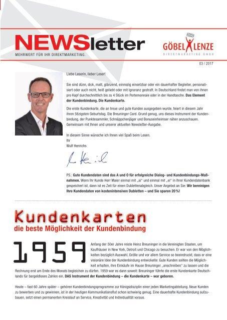 Göbel+Lenze Newsletter Ausgabe 03/2017