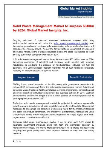 Solid Waste Management Market to surpass $340bn by 2024