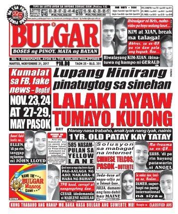 NOVEMBER 21, 2017 BULGAR: BOSES NG PINOY, MATA NG BAYAN