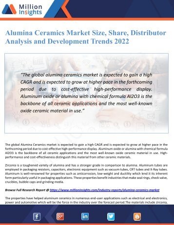 Alumina Ceramics Market Size, Share, Distributor Analysis and Development Trends 2022