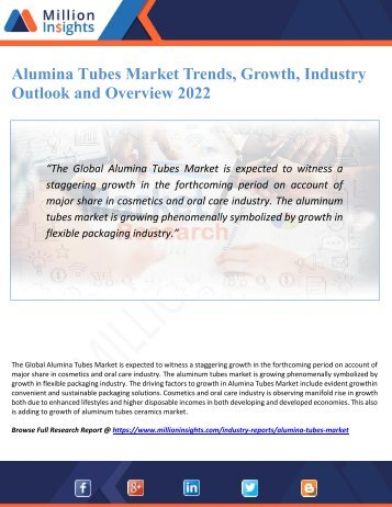 Alumina Tubes Market Trends, Growth, Industry Outlook and Overview 2022