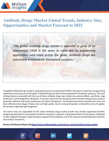 Antibody Drugs Market Global Trends, Industry Size, Opportunities and Market Forecast to 2022