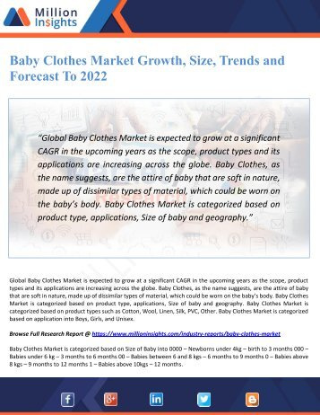 Baby Clothes Market Growth, Size, Trends and Forecast To 2022