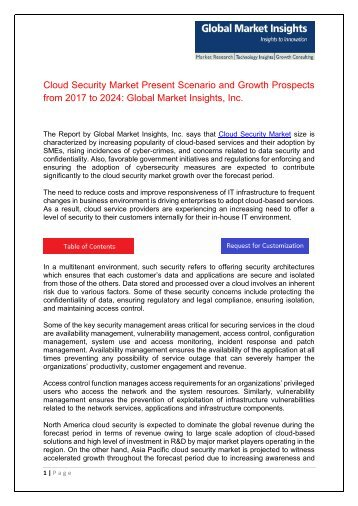 Cloud Security Market Growth Outlook with Industry Review and Forecasts by 2024