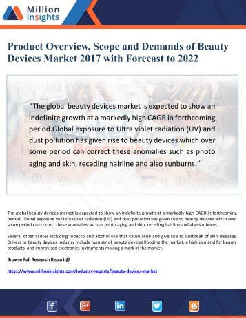 Beauty Devices Market 2017 - Product Overview, Scope and Demands with Forecast to 2022
