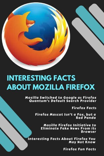 INTERESTING FACTS ABOUT MOZILLA FIREFOX