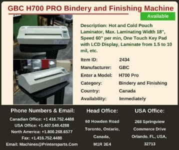 Buy Used GBC H700 Pro Bindery and Finishing Machine