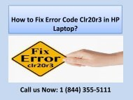 Dial +18443555111 to Fix Error Code Clr20r3 in HP Laptop