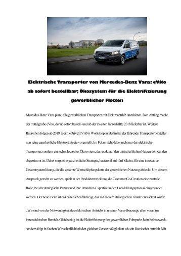 Elektrische Transporter von Mercedes-Benz Vans