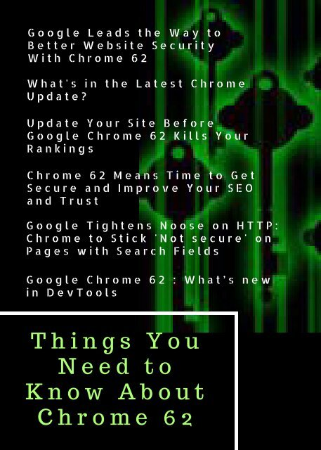 Things You Need to Know About Chrome 62