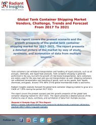 Tank Container Shipping Market Research Report From 2017 Till 2021: Radiant Insights, Inc.