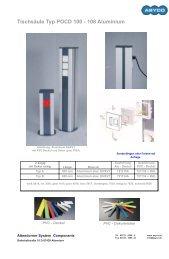 Tischsäule Typ POCD 100 - 108 Aluminium