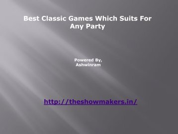 Best Classic Games Which suits for any party