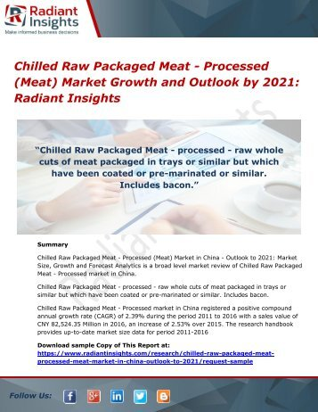 Chilled Raw Packaged Meat - Processed (Meat) Market Growth and Outlook by 2021 Radiant Insights