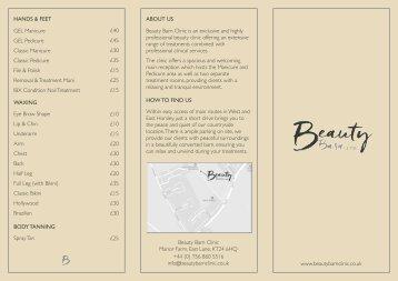Beauty Barn Clinic PRICE LIST