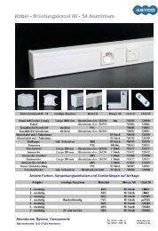 Kabel - Brüstungskanal 80 - 54 Aluminium