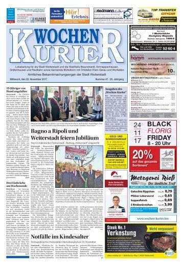 Wochen-Kurier 47/2017 - Lokalzeitung für Weiterstadt und Büttelborn