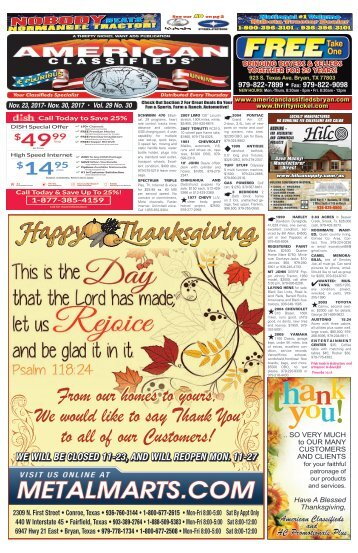 American Classifieds Nov. 23rd Edition Bryan/College Station