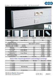 Kabel - Brüstungskanal 200 - 54 Kunststoff