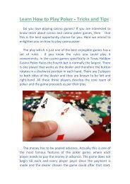 Learn How to Play Poker - Tricks and Tips