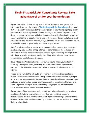 Devin Fitzpatrick Art Consultants Review: Take advantage of art for your home design