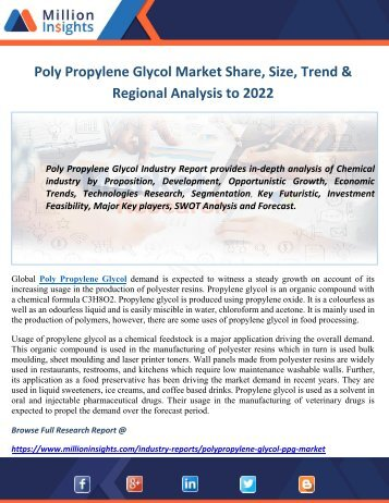 Poly Propylene Glycol Market Size, Share, Trends, Types, Forecasts to 2022