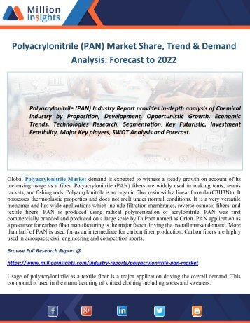 Polyacrylonitrile (PAN) Market Industry Analysis and Opportunity Assessment 2022